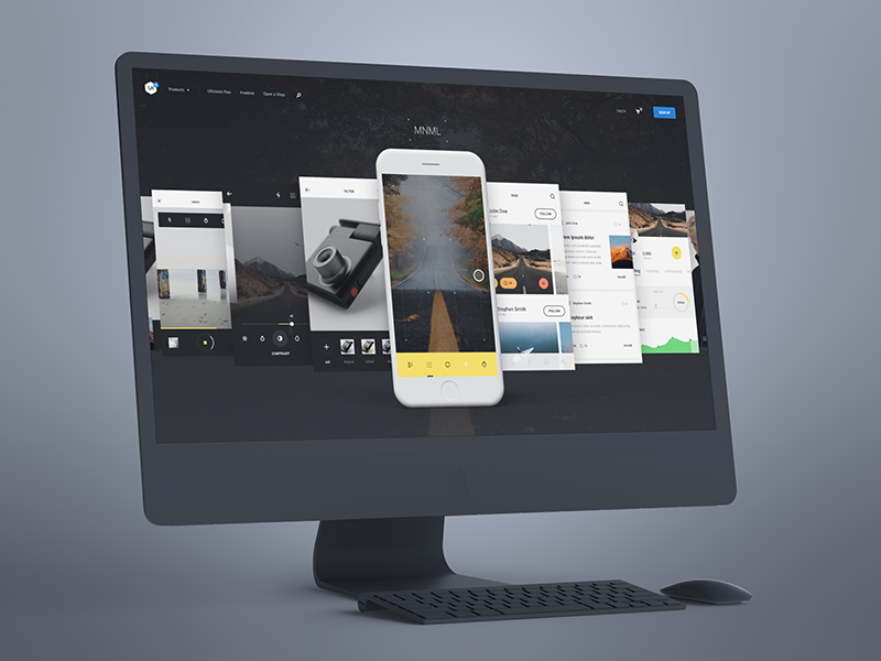 MNML iOS UI Kit pro imac free freebie ui8 minimal mnml sketch ui kit ios