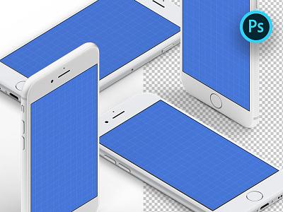 Isometric iPhone Mockups apple mockups download psd ps photoshop iphone freebie