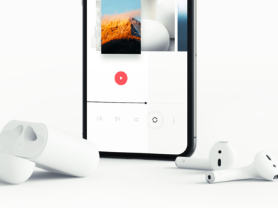 Music clean scene airpods apple iphonex iphone mockup ui ux