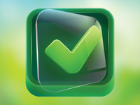 App Icon Design - Clear Green Check on Glass