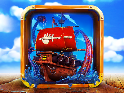 App Icon Design - For Pirate Ship Game icon icons graphics illustration ocean sea water web ipad apps artists illustrators best mobile game iphone ios android app graphic 3d design designers developers graphic design ship pirate sail boat app designers app icon designers