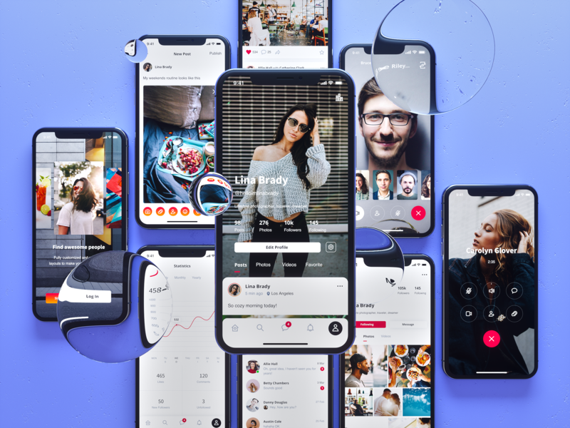 Sienna Social iphonex bubbles ui8 ui-kit ux  ui ux