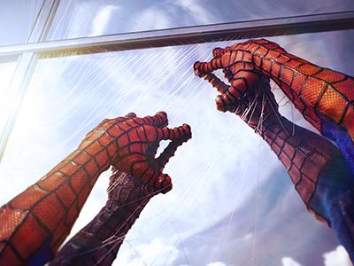 Graphic Design - Spider Man Illustration for Website Design webs amazing climbing 3d illustration graphic design graphics building spidey photoshop spider man skicky hands