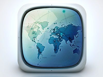 Icon Design - Space Monitor icon space monitor aliens world map invasion futuristic