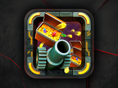 App Icon Design - Treasure Cannon Game icon icons icon design graphics graphic design illustration diamonds loot apps ipad artists best mobile game iphone ios android app graphic 3d design designers developers illustrators gold cannon treasure app icon designers app designers