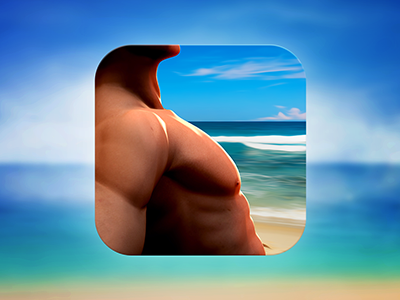 App Icon Design - Beachbody icon icons icon design graphics graphic design illustration body muscles apps ipad artists best mobile iphone ios android app graphic 3d design designers developers illustrators man guy beach ocean sand app icon designers app designers
