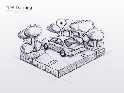 GPS Tracking Icon - Sketch detailed trees icon icons icon design graphics graphic design illustration sketch car gps