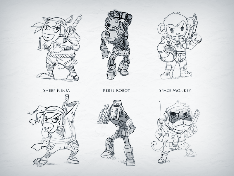 Game Characters (Sketches) graphic design design illustration branding logo characters sketches ideas moneky sheep robot