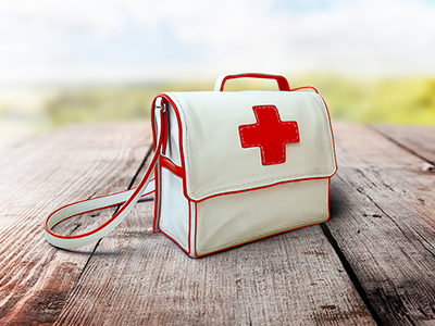 Icon Design - Medical Assistance purse graphic design bag illustration icon design medical assistance leather realistic icons red cross designers