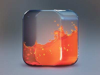 Fluid icon icons icon design graphics graphic design illustration liquid glass orange fluid photoshop appicon fuel reflections energy