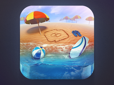 The Island icon icons icon design graphics graphic design illustration surf logo creativedash appicon relax dash ios umbrellas yellow iphone island 3d beach summer sand photoshop blue red