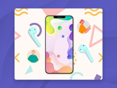 Phone earbuds illustration