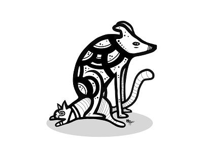 sit on it animal ink design symbol illustration cat dog