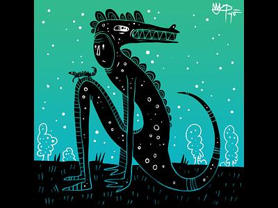 Friends blue black green dinosaur friends design cartoon lizard illustration