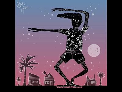 East Coast Chill design person cartoon dance california illustration
