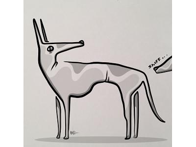 Saying Hello illustration cartoon animal pets greeting card dog