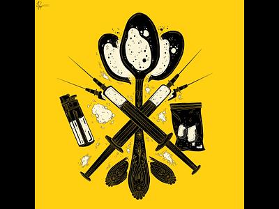 Addiction #1 heroin yellow logo line work digital art ink magazine illustration advertisements abuse addiction drugs