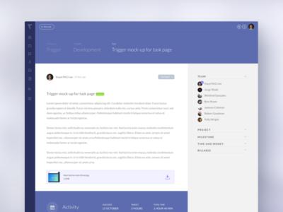 Trigger UI mock-up mock-up new icons admin product triggerapp trigger ux project task activity ui