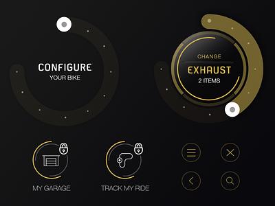 Yamaha - My Garage / Atomic navigation menu wheel configure ui icons ux