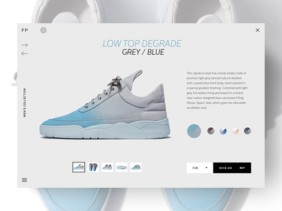 Filling Pieces interface shoes website layout web ui patta filling pieces sneakers