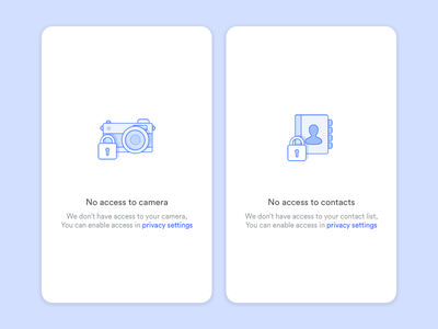 Error Screens - No access to camera, No access to contacts empty state app design ui icon outline illustration no access contacts camera
