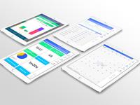 iPad dashboard stats UI