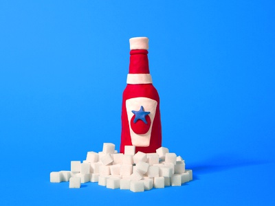 ketchup photoshop modeling photography tactile clay cubes sugar