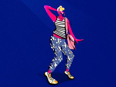 Masidon design motion graphics scad cointern friend dancing posing girl illustration. texture