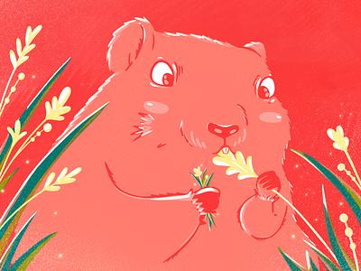 Happy Groundhog day! plants textures groundhog photoshop illustration