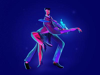 Salsa doodle couple salsa dancing character texture girl design illustration photoshop