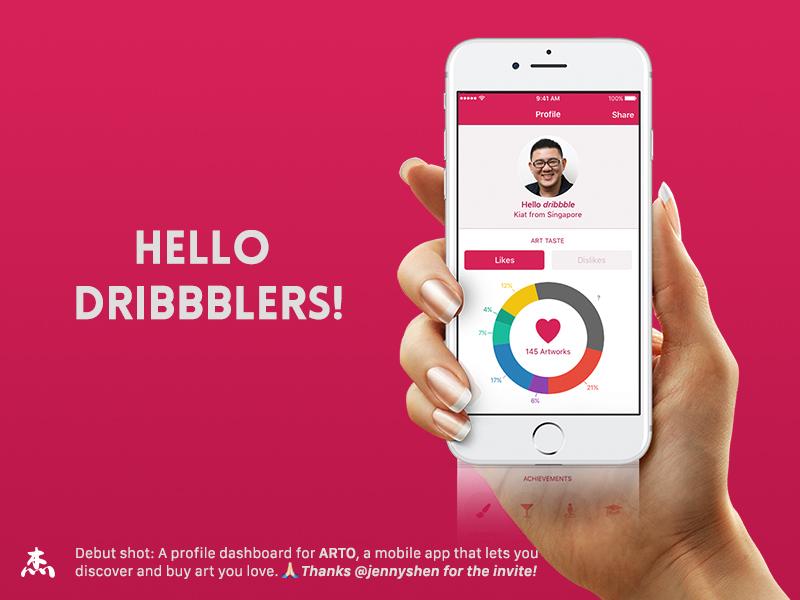 Hello Dribbblers gallery art arto kiat app dashboard profile ios