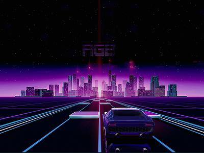 Neon Drive shadows mood maya lighting graphics environment 3d retro neon light drive city