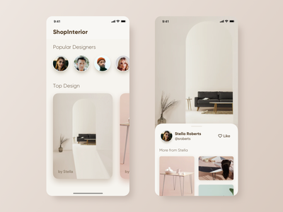 App for Interior Designer design app ecommerce soft minimal interior esthetic clean product ios ux application sketch ui app design