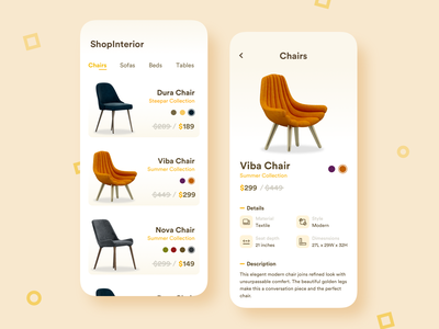 Furniture Ecommerce App Concept store product clean ui clean minimal ecommerce shop furniture interior chair flat ux ui app design