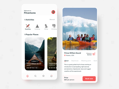 Adventure traveling app UI travel alaska usa adventure time kayaking adventure minimal clean product iphonex ios application ux sketch ui app design
