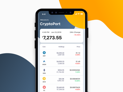 CryptoPort - App for crypto portfolio iphone-x simple ios clean sketch portfolio bitcoin crypto ux app ui design