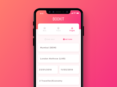 BOOKIT - Ticket booking app ios flight iphonex application sketch ticket travel booking app design ux ui