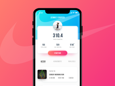 Nike Run App mobile iphone fitness sport application design branding ux ui app run nike