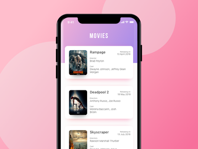Movies App user-interface iphonex ios film colorful hollywood movies design application ux ui app