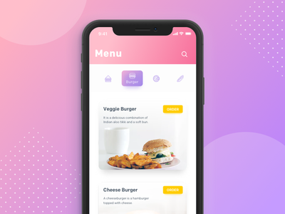 Restaurant App ios burger iphonex application sketch order food-app restaurant app design ux ui