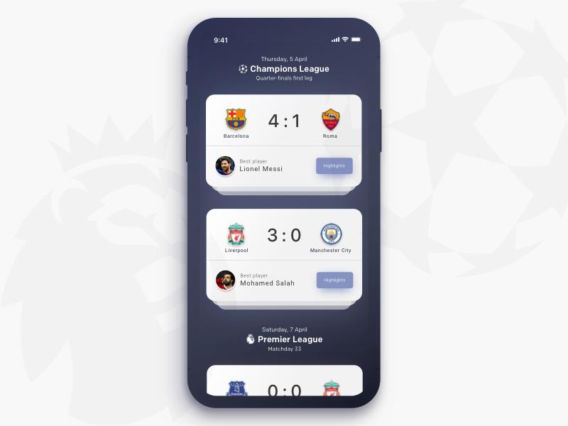 Football Score App Concept by Nirav on Dribbble