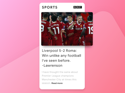 Liverpool vs Roma sports match liverpool salah app football bbc news design us ui