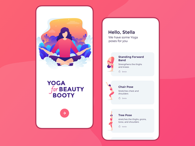 Yoga App girl character app design app ui yoga app minimalist calm lifestyle product fitness yoga minimal clean illustration ios application sketch ui app design