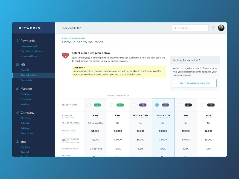 Medical Plan Selection userinterface ui design product hr insurance health