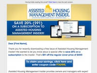 Assisted Housing Management Insider real estate newsletter email