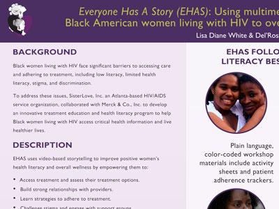 Sister Love fact sheet print design