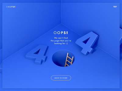 Daily UI | 008 — 404 Page typography blue 3d oops daily ui 404