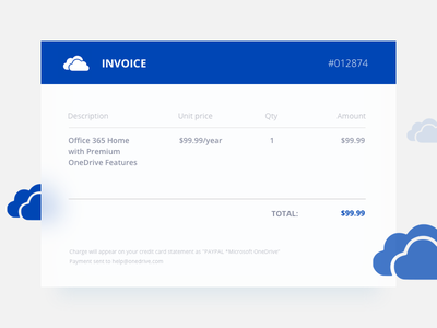 Daily UI | 046 — Invoice cloud microsoft onedrive daily ui daily 046 invoice
