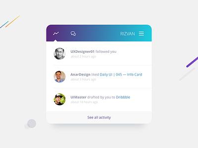Daily UI | 047 — Activity Feed dribbble feed activity 047