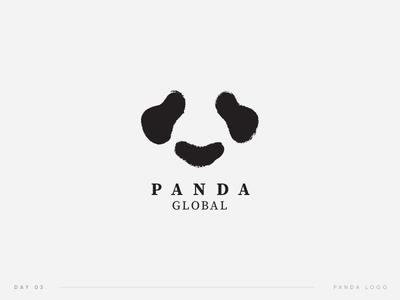 Daily Logo Challenge   03. Panda Logo simple animal black global challenge daily logo panda